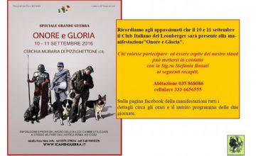 Onore e Gloria, Manifestazione storico-cinofila, 10 – 11 Settembre 2016, Pizzighettone (CR).
